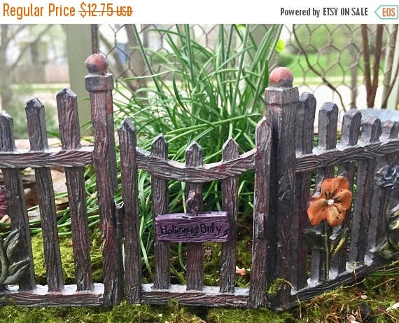 SALE Miniature Fairy Gate and Fence, Hinged Door With Welcome Sign, Fairy Garden Accessory, Garden Decor, Miniature Gardening