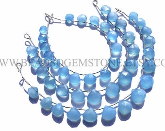 Craft Supplies, Blue Chalcedony Faceted Heart (Quality B) / 9 to 12 mm / 18 cm / CHALCE-036