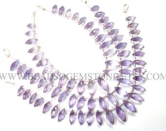 Semiprecious Beads, Pink Amethyst Faceted Dew Drops (Quality A) / 5x11 to 6.5x14.5 mm / 18 cm / AMETHY*-038