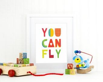 You Can Fly - Peter Pan Inspired Art - Nursery Wall Art - Kids Room Decor - Colorful Nursery Art - Nursery Decor - Baby Room - Kids Room Art