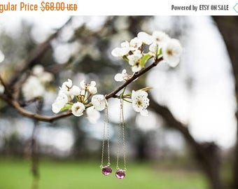 Summer Solstice Sale Pink Tourmaline Earrings // Gemstone Dangle Earrings // Gold Filled Earrings // Bridesmaid Gift // Hand Forged French H