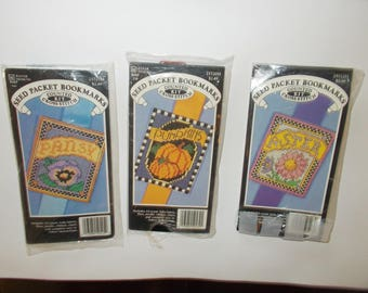 Lot of 3 Cross Stitch Kits Country Seed Packet Bookmark Aster, Pumpkins, Pansy