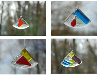 Fused glass ornaments, glass suncatchers, set of 4, dichroic glass, funky abstract, Christmas ornaments, holiday ornaments