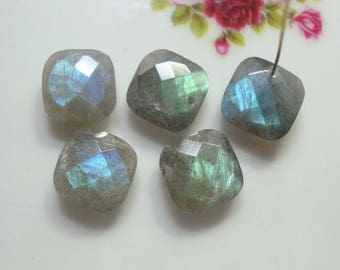 1 pc, 10mm AAA Labradorite Gem Quality Faceted Square Briolette, Front to Back Drilled, 3D cut, FTBS10