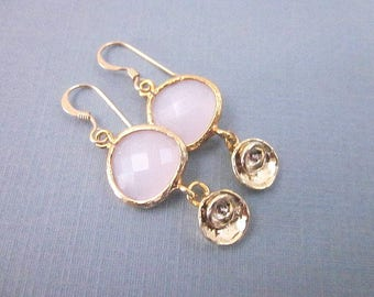Pink Glass Dangle Earrings -- Pink Fashion Earrings -- Pink & Gold Flower Dangles -- Pretty Pink and Gold Earrings -- Pink Bud Earrings