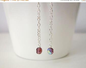 Summer Sale Long chain earrings purple beads earrings sparkly long earrings minimalist
