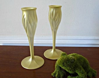 ON SALE Gold Candle Stick Holders - Set of 2 - Upcycled Painted Cut Glass Candlesticks - Wedding, Party, Entertaining, Home Decor