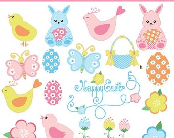 65%OFF SALE Easter clipart, Happy Easter clipart, Easter bunny clipart, Easter chick clipart, Easter egg clipart, spring clipart, P123