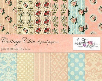 50%OFF Shabby vintage digital papers featuring vintage damask and shabby rose patterns, vintage scrapbook paper, cottage chic decor P126