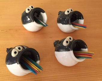 This LITTLE Piggy - Black and White ToothPick Holder - In Stock