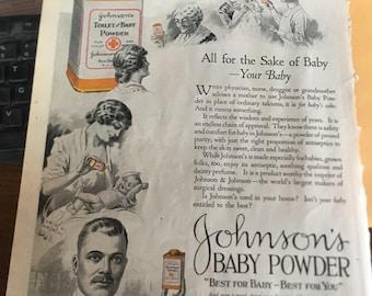 1923 johnson and johnson baby powder ad 10 x 13 original graphics.