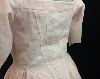 Linen Gown for a common woman, Robe A L'Anglaise, 18th Century, size 16