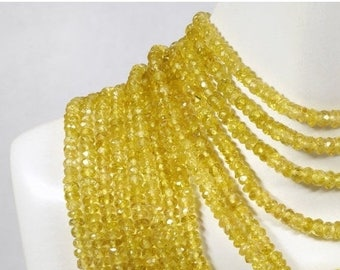 ON SALE AAA Yellow Tourmaline Rondelles Faceted Rare Semiprecious Rondels Roundels Earth Mined Gems - 1 Inch Strands - 2, 3 or 4mm Beads