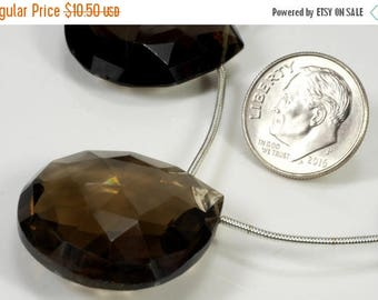 ON SALE Large Smoky Quartz Bead Focal Bead Faceted Heart Briolette Flat Teardrop - Earth Mined Gemstone - One Focal Bead  - About 26x26mm