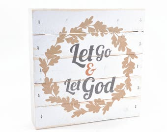 """Let Go And Let God Religious Pallet Box Sign 7.5"""" x 7.5"""""""