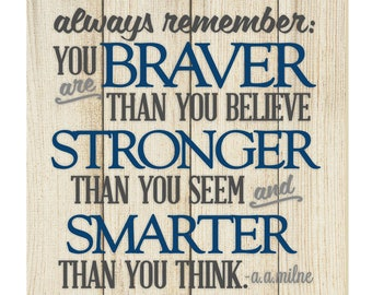 Always Remember You Are Braver Thank You Think Wall Sign 12x12
