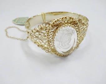 RESERVED for Angela - Vintage Whiting & Davis Intaglio Glass Cuff Clamp Bracelet Steampunk Goth Costume Piece