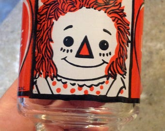 Vintage Raggedy Ann Andy Doll Glass Tumbler 1972  I Love You