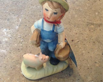 Vintage ARNART Farm Boy Pink Pig Figurine Baby Piglet Porcelain This Little Piggy Went To Market Hang Tag