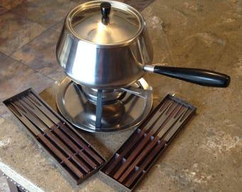 Vintage Swedish Fondue Pot Stainless Steel Inox 18/8 Switzerland VI Set with 8 Fondue Forks