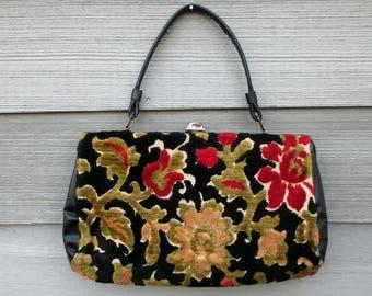 Floral Carpet Purse, Vintage Handbag