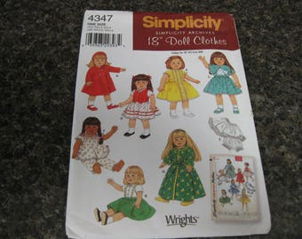 """Simplicity 2005 """"Simplicity Archives"""" 18""""Doll clothes patterns.New,Factory folded."""
