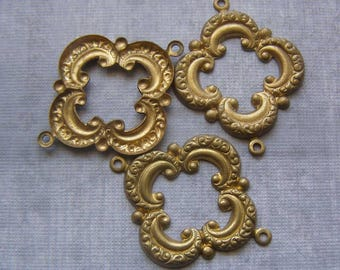 Brass Stampings, Jewelry Findings, Brass Connectors, Quatrefoil Jewelry Supplies, Stamped Brass Drop
