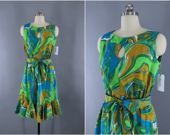 Vintage 1960s Day Dress / 60s Sundress / Aqua Blue & Green / Marble Print / Opducke's of Streator / Mod Dress