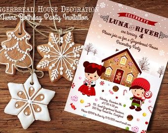 Woodland Gingerbread House decorating Twins BIRTHDAY party invitation - Holiday Birthday Invitation - Winter Birthday