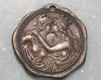 Vintage Grecian Women Queen Coin Pendant