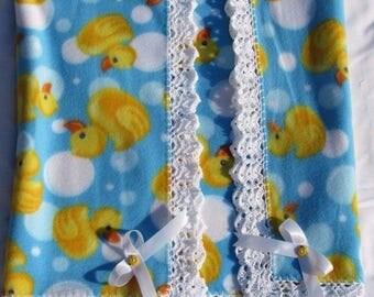 Crochet Baby Nursery Fleece Soft Blanket Rubber Ducks