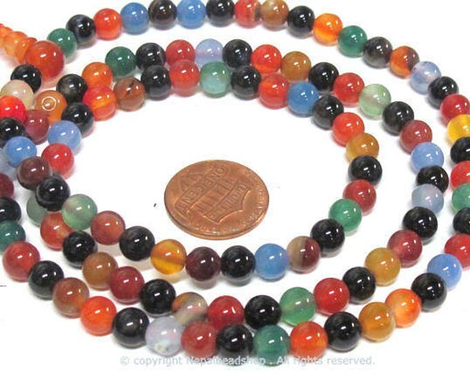108 beads small 6 mm size mix color agate mala making Beads supply - ML003B