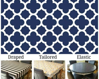 Oilcloth aka laminated cotton heavyweight tablecloth pick fitted by TAILORING or fitted by ELASTIC or DRAPED Navy and ivory quatrefoil