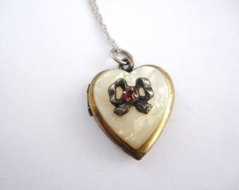 Antique Gold Filled Locket on a Sterling Chain