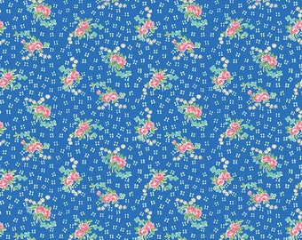 Mae Flowers Fabric by Lindsay Wilkes from The Cottage Mama for Riley Blake Designs and Penny Rose Fabrics - Blue Floral