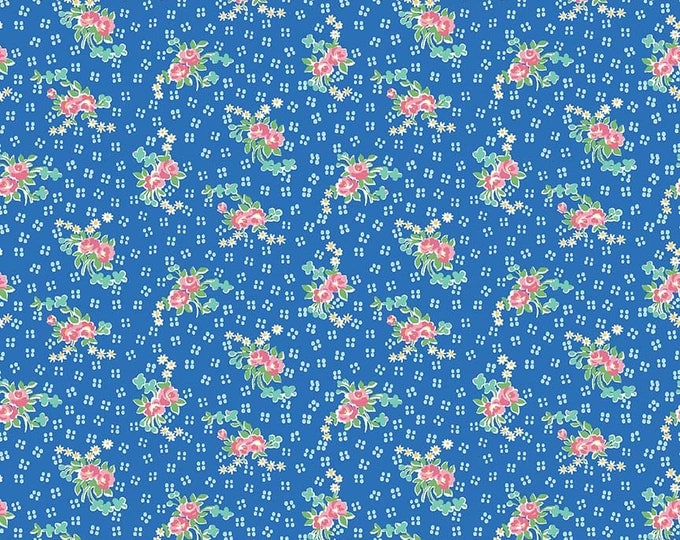 PRE-ORDER - Mae Flowers Fabric by Lindsay Wilkes from The Cottage Mama for Riley Blake Designs and Penny Rose Fabrics - Blue Floral