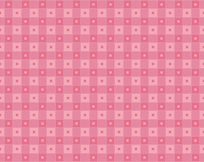 Mae Flowers Fabric by Lindsay Wilkes from The Cottage Mama for Riley Blake Designs and Penny Rose Fabrics - Pink Check