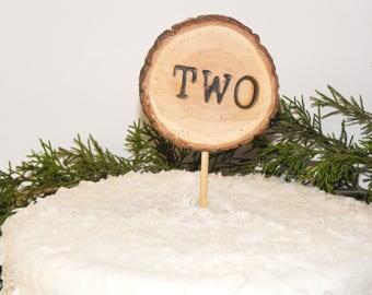 2nd Birthday Cake topper / Wood slice cake topper/ Two Cake topper / Cupcake toppers/ Woodland Birthday party/ Wood slice Cake topper/