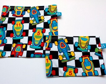 Reuseable Eco-Friendly Set of Snack and Sandwich Bags in Race Car Fabric