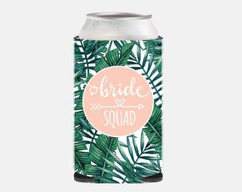 Bridesmaid Gift Bachelorette Party Favors Bride Squad Can Cooler Leaf Wedding Party Gifts Wedding Party Favors Can Hugger Tropical Leaf YZ
