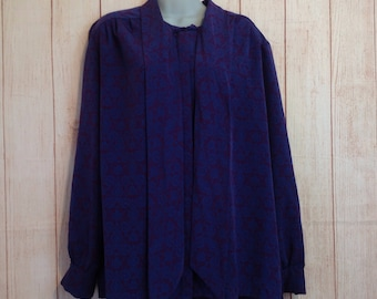 Vintage 70s XL Blouse BY Pendleton Country Sophisicates Shirt Ladies Polyester Long Sleeve XL