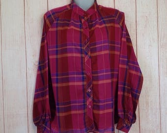 Vintage Terry California Pink Large Plaid Long Sleeve Button Down Shirt Blouse Ladies M