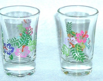 Tropical / Hibiscus Shot Glasses Hand Painted - Set of 2