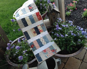 "QUILTED TABLE RUNNER, 12"" x 36 1/2"", Scrappy Tablerunner, Blue Red Cream White Navy,  Country Farmhouse, Quilts For Sale, Handmade Quilt"