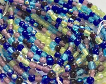 4mm Druk Bead Mix, 4mm Round Glass Bead Mix, Mixed Glass Strand, Czech Druk Bead Mix, Blues/Greens/Amethyst