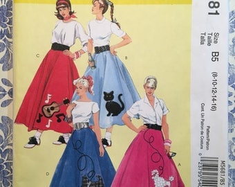 McCall's 5681 OOP sewing pattern for poodle skirt and petticoat Sizes 8 to 16