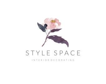 Premade Logo & Watermark - minimalist, business branding, simple stylish, photography design, custom-made, floral soft purple feminine logo