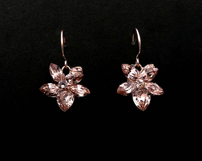 bridal jewelry bridesmaid gift prom Swarovski vintage rose blush pink multi shape flower crystal rhinestone drop rose gold hook earrings