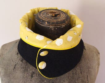 """Black collar wool BOILED """"Nani Iro"""""""