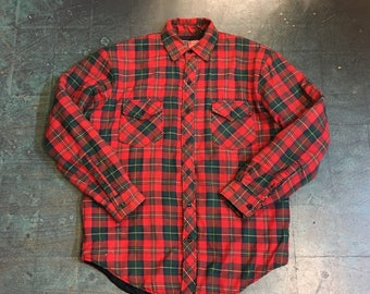 Vintage retro plaid flannel shirt jacket quilted lining  // mens size medium
